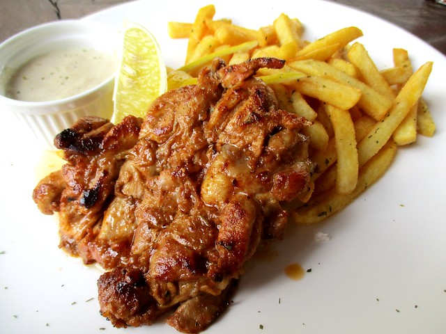Grilled barbecued chicken with fries & mushroom sauce