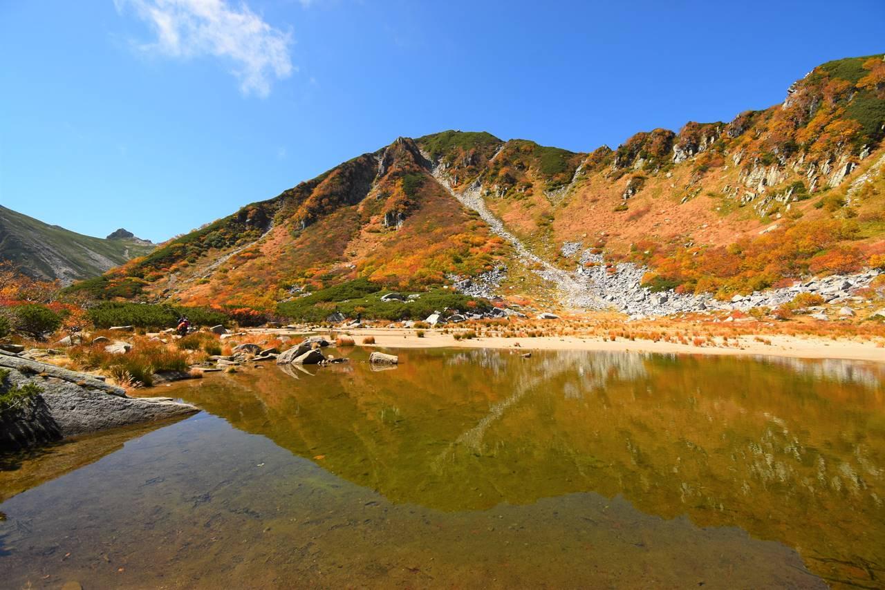 濃ヶ池と鏡のように映る紅葉風景