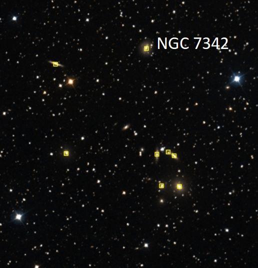VCSE - Az Aladin Sky Atlas segítségével, Csizmadia Szilárd által azonosított USGC U820 galaxishalmaz tagjai. Ezeket a galaxisokat Ágoston zsolt képén is meg lehet találni az NGC 7342-től elindulva. - Aladin, Cs. Sz.