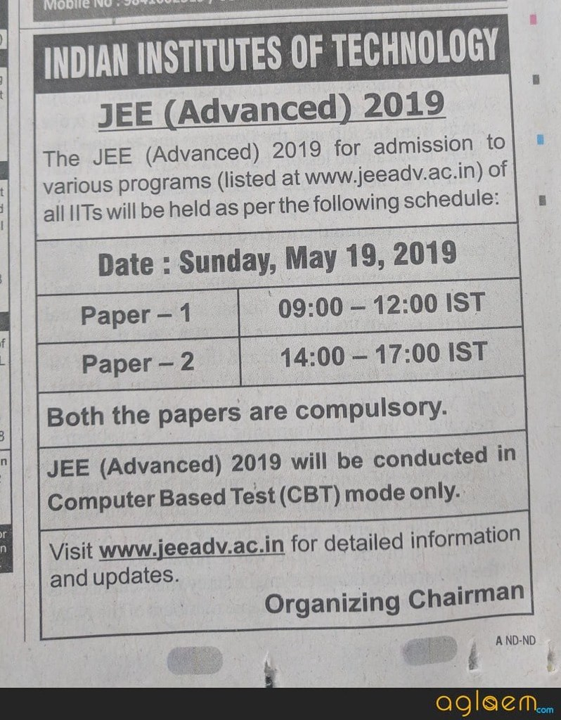 JEE Advanced 2019 Schedule