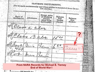 Detail from detachment records for Michael E. Tierney, WWI (source: NARA)