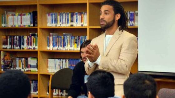 Devin Walker speaks to middle schoolers