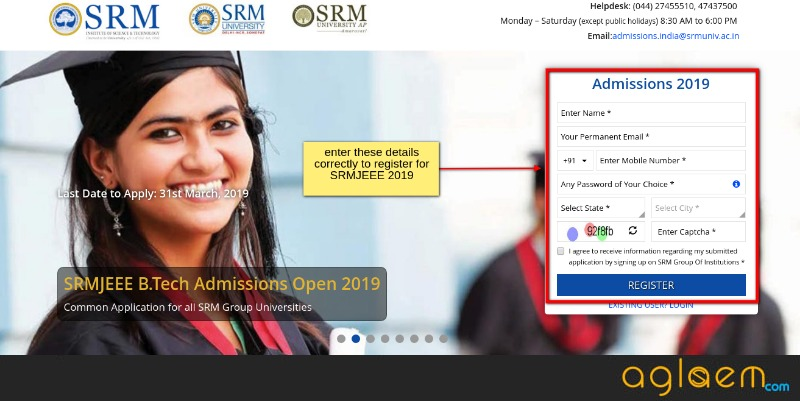 SRM Starts SRMJEEE 2019 Registration; Exam From 15 To 25 April 2019