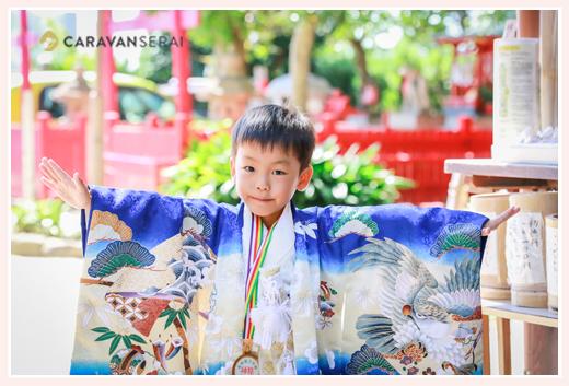 菅生神社(愛知県岡崎市)で七五三前撮りのロケーション撮影 5歳の男の子
