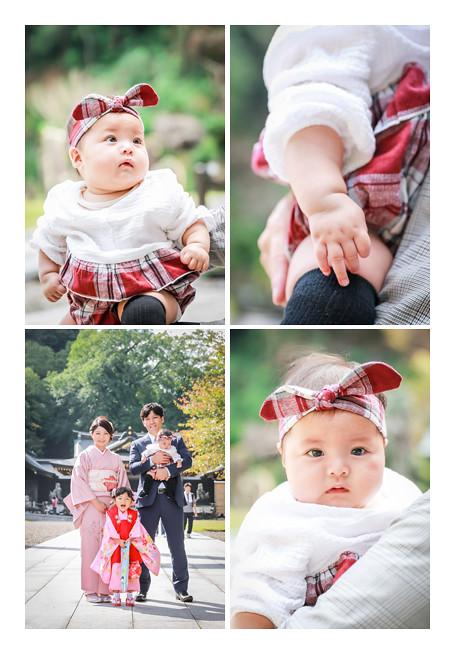 七五三 岐阜護国神社でロケーションフォト 赤ちゃんの妹