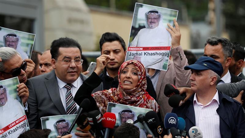 葉門記者、諾貝爾和平獎得主塔瓦庫・卡曼(圖中)中與人權觀察組織要求沙國公開資料。(圖片來源:Murad Sezer/Reuters)