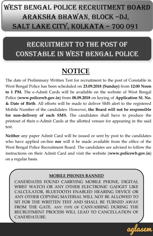 West Bengal Police Constable Recruitment 2018