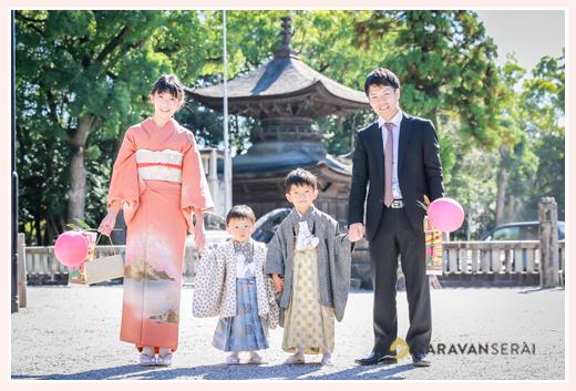知立神社にご参拝♪兄弟で七五三のロケーションフォト(愛知県知立市)