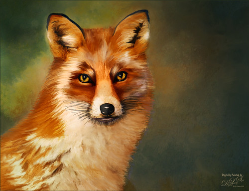 Painted image of a fox
