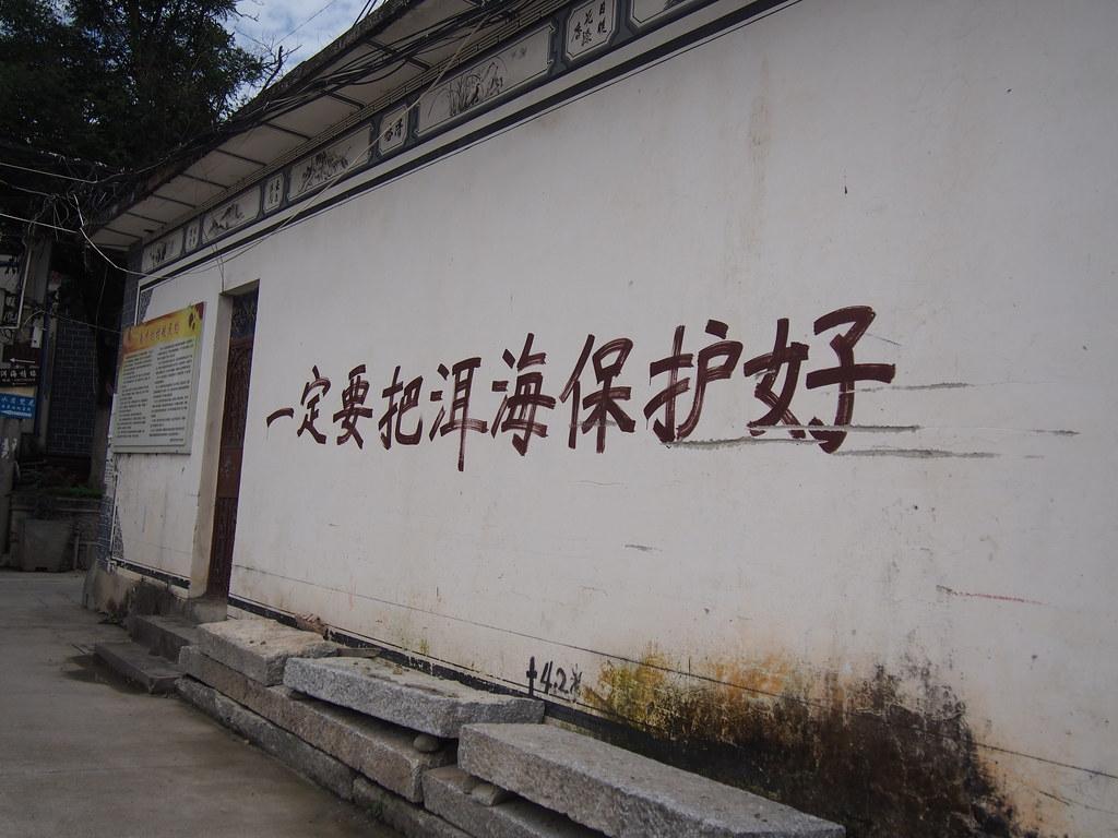 洱海旁南才村村莊內的標語「一定要把洱海保護好」。攝影:陳宣竹