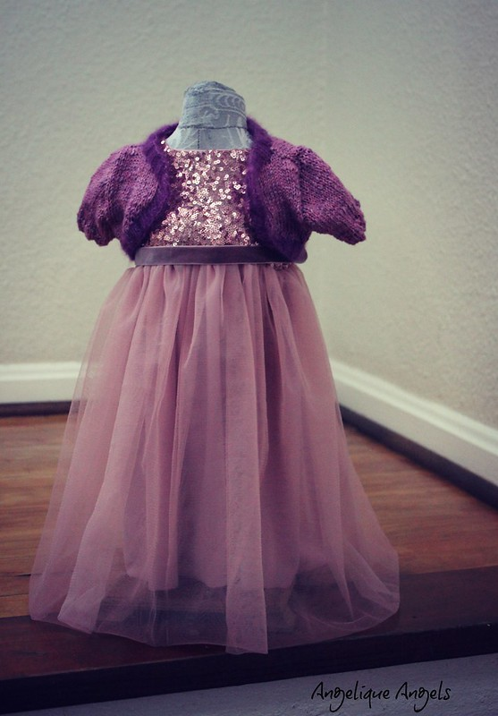 Dress set with knitted shrug
