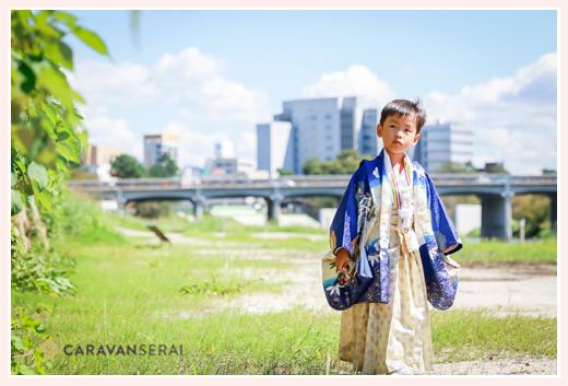 乙川(愛知県岡崎市)で七五三前撮りのロケーション撮影 5歳の男の子