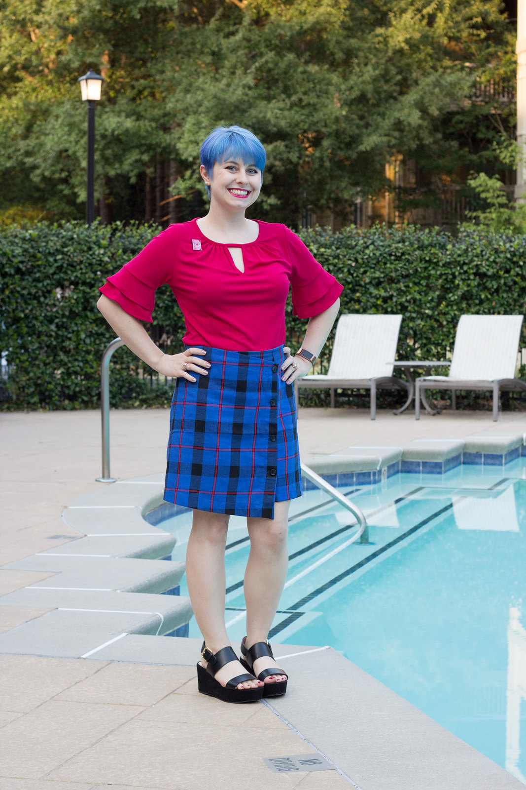 Blue Tartan Skirt with Hot Pink Top and Platform Sandals