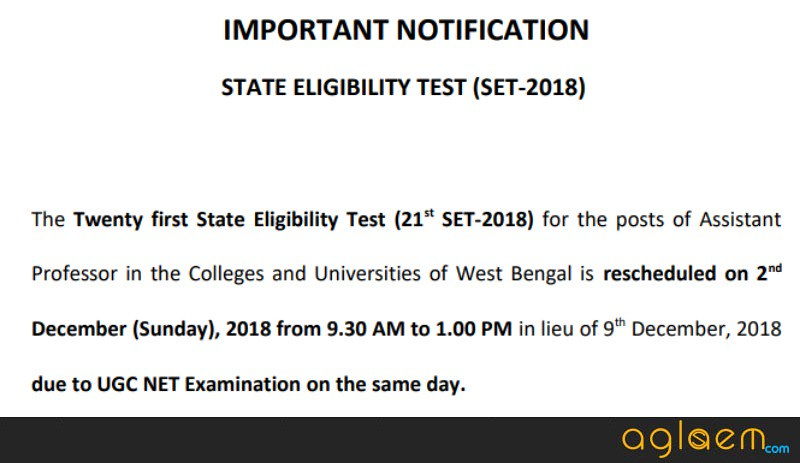 WB SET 2018   West Bengal State Eligibility Test   Notification, Application Form, Admit Card, Result