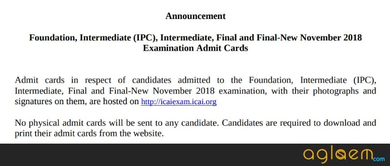 ICAI Releases CA Final and IPCC Admit Card 2018 for Nov Exam; Here is How You Can Download It