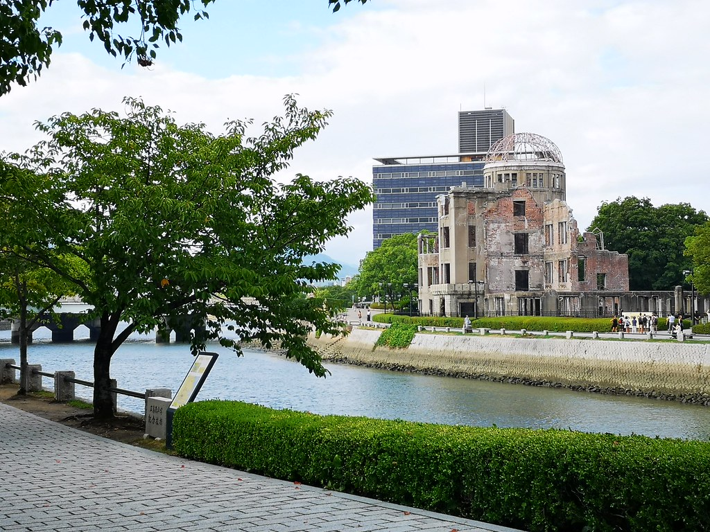 The A-Bomb Dome lies just across the river from the Peace Memorial Park.