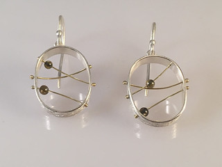 Games: Three lines, two spheres earring dangle by Chapin Dimond