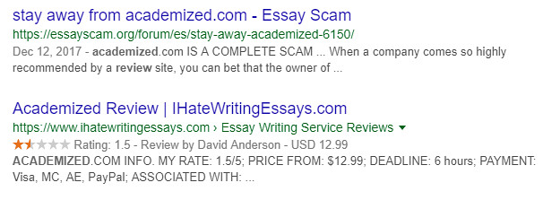 Academized reviews