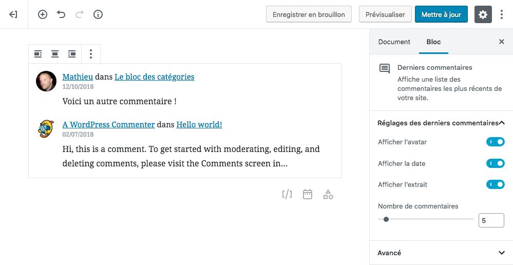 Modifier Commentaires