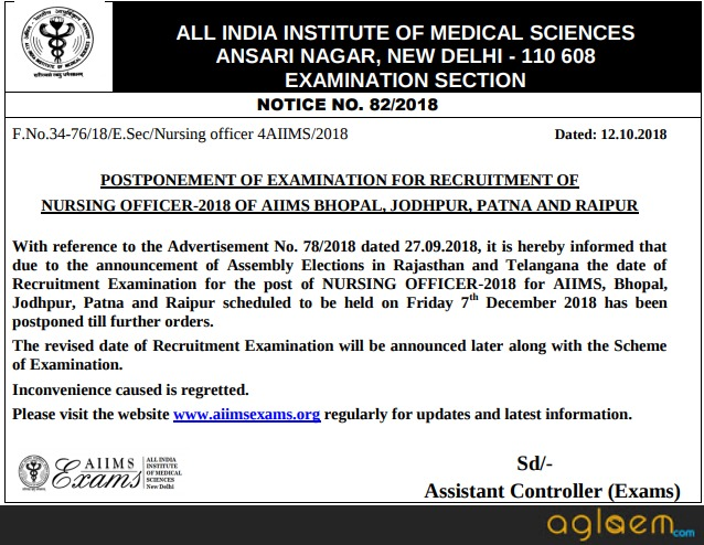 AIIMS Nursing Officer Recruitment 2018
