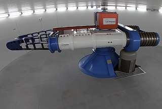 picture of a white and blue High Explosives Centrifuge