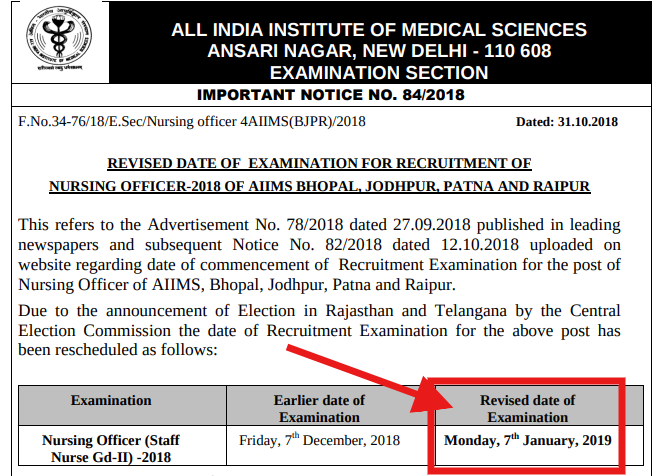 AIIMS Nursing Officer Result 2018   Check Here