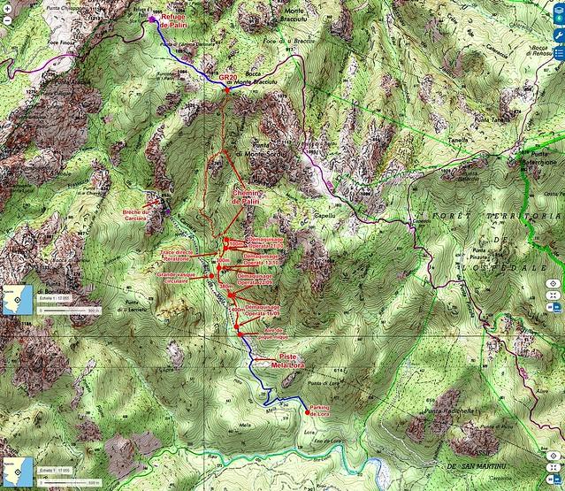 Carte IGN du Haut-Cavu avec les secteurs Lora - Carciara - Paliri et les travaux du Chemin de Paliri au 21/10/2018