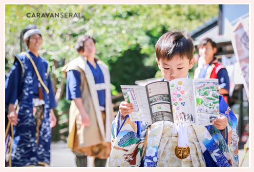 岡崎城のグレート家康公「葵」武将隊と一緒に七五三前撮りのロケーション撮影