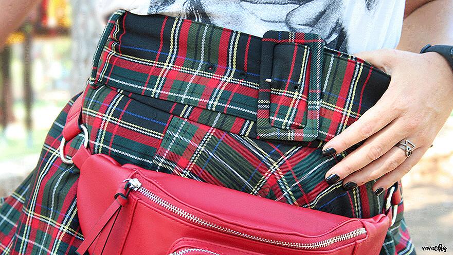 falda de cuadros Escoceses de talle alto