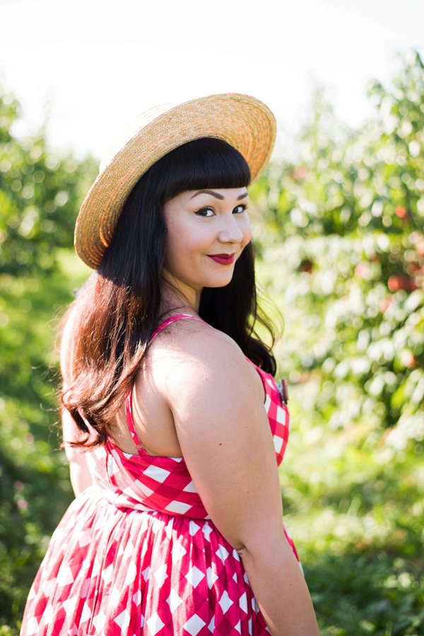 red white checked dress