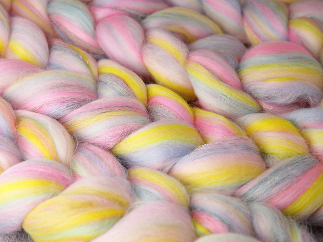 96g Rebel Blend extra fine Merino and Stellina combed top/roving spinning fibre  – 'Cupcake'