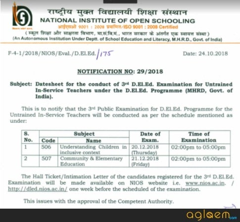 DElEd 3rd examination 2018 Date Sheet