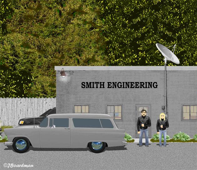 Chris & Wyatt arrived at Smith Engineering ©J. Boardman