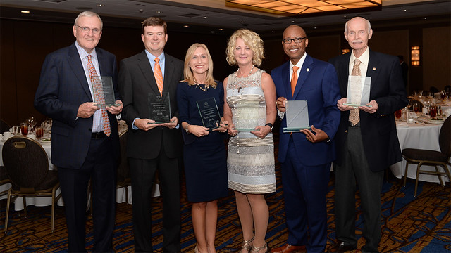 Joe Cowan, '70 electrical engineering, Distinguished Auburn Engineer; Charles Marsh, '01 civil engineering, Outstanding Young Auburn Engineer; Ashley Robinett, '01 chemical engineering, Outstanding Young Auburn Engineer; Leslee Belluchie, '83 mechanical engineering, Distinguished Auburn Engineer; Kenneth Kelly, '90 electrical engineering, Distinguished Auburn Engineer; and Larry Benefield, '66 civil engineering and dean emeritus, Superior Service.