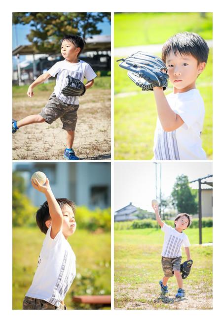 公園で野球をする男の子