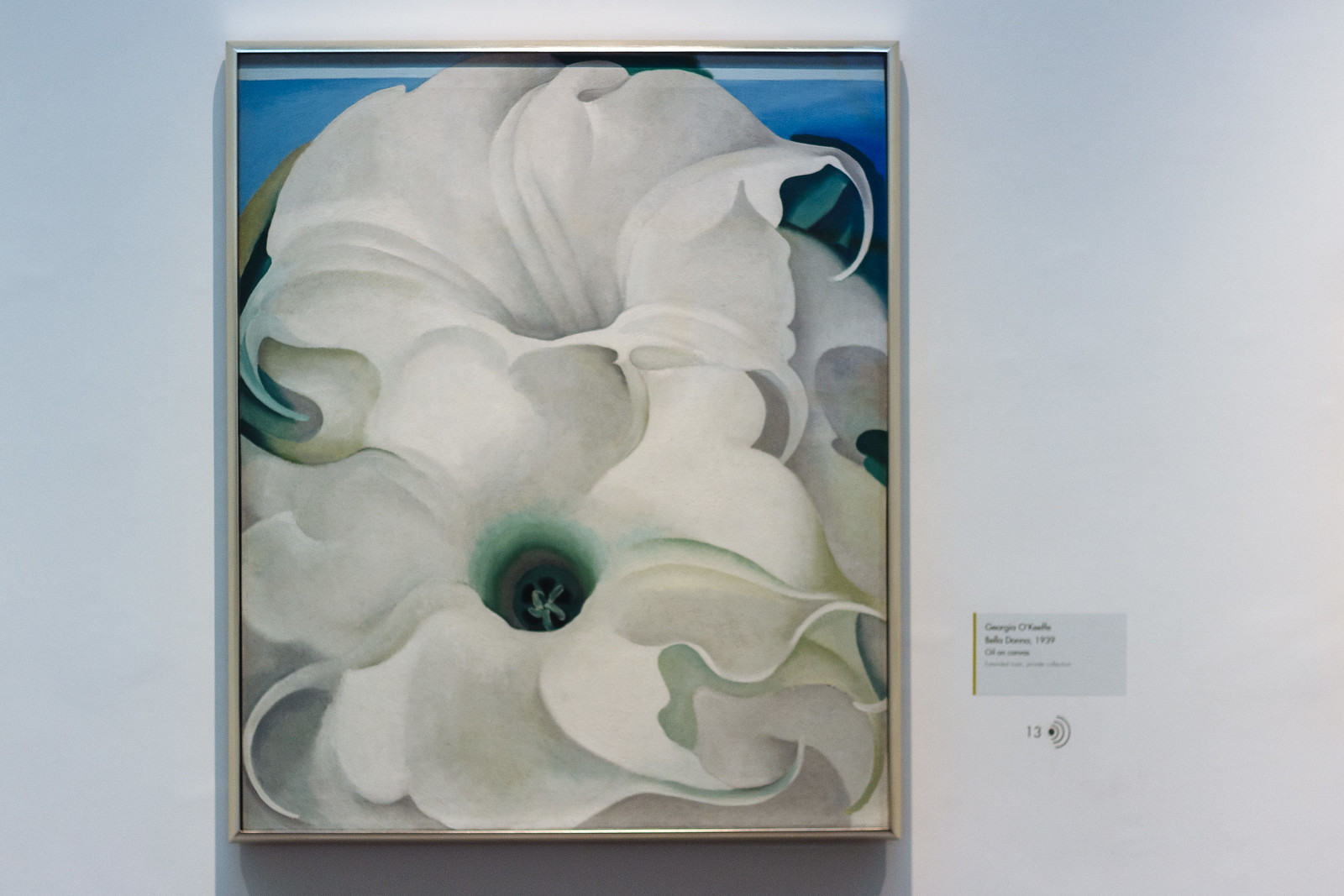Painting of white flowers by Georgia O'Keefe in Santa Fe, New Mexico