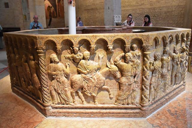 Marble font, Duomo, Verona, Italy