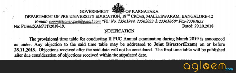 Karnataka 2nd PUC Time Table Released; Exams to be Held from March 01