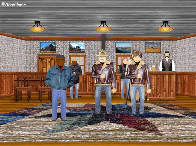 Linda & Boomer inside the Flyspeck Bar ©J. Boardman