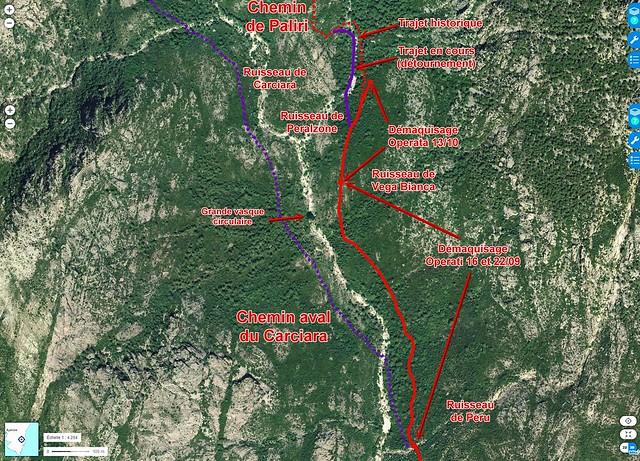 Photo aérienne du Haut-Cavu avec les secteurs Lora - Carciara - Paliri et les travaux du Chemin de Paliri au 13/10/2018