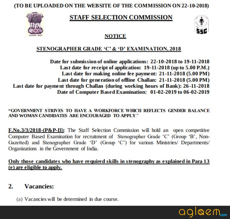 Notification of SSC Stenographer