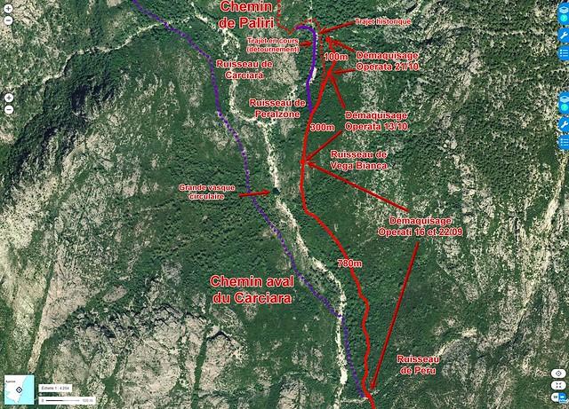Photo aérienne du Haut-Cavu avec les secteurs Lora - Carciara - Paliri et les travaux du Chemin de Paliri au 21/10/2018