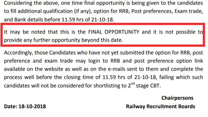 Railway Gives Final Opportunity for RRB ALP Post Preference, RRB Selection, and Adding Qualification Till 21 October