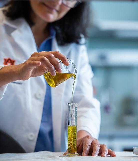 Professor Amal Kaddoumi pours olive oil into a beaker.