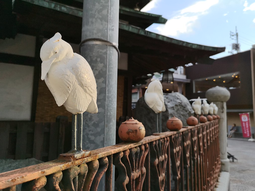 Sculptures of the white heron adorn Dogo Onsen.