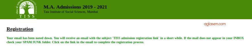 TISSNET 2019 Registration Confirmation Message