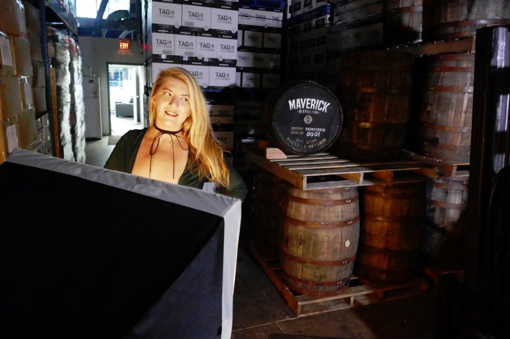 Raymi Minx photo shoot Maverick Distillery, Masterlift forklift
