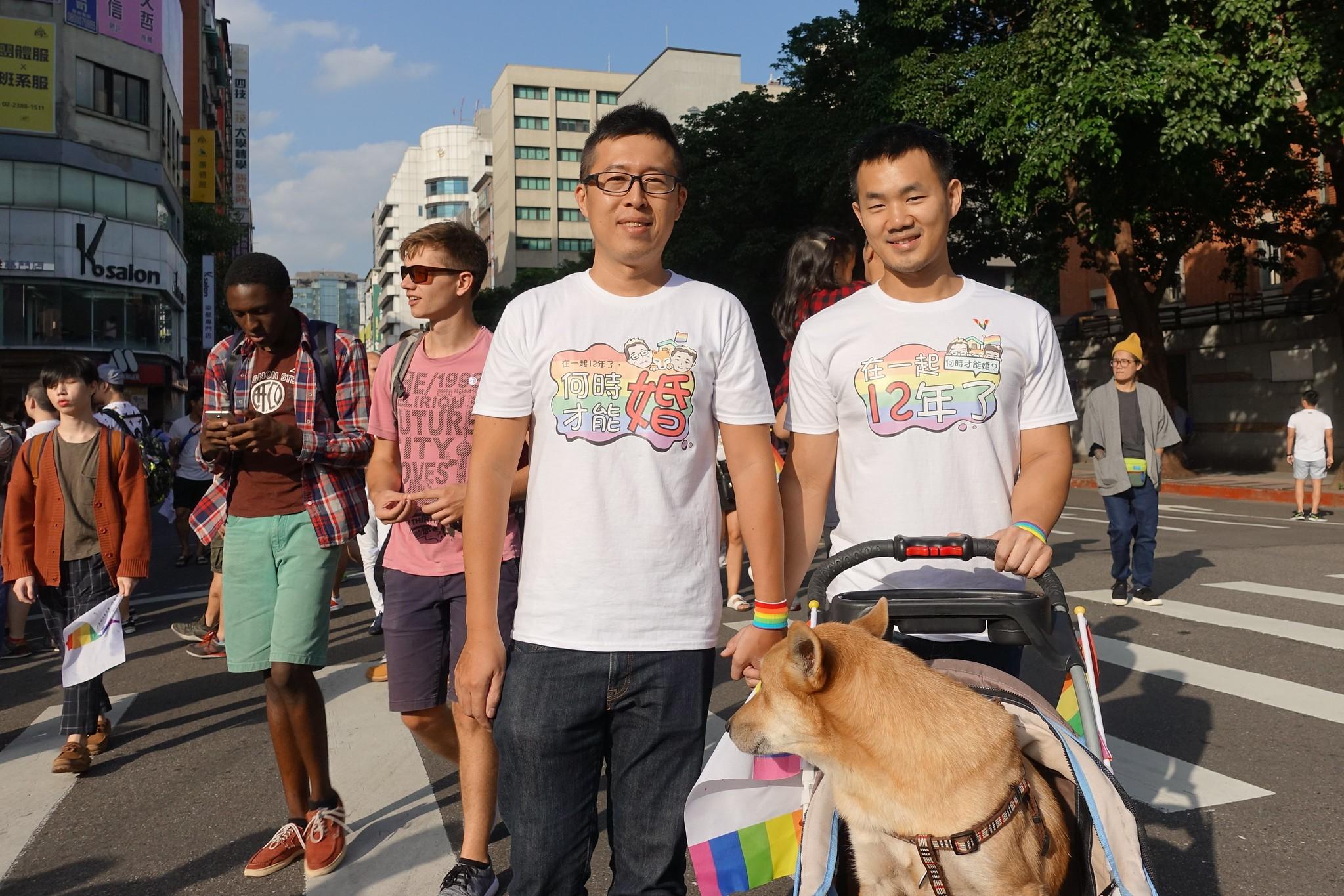 一對在一起12年的男同志伴侶希望得到結婚的權利。(攝影:張智琦)