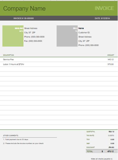 Google docs invoices