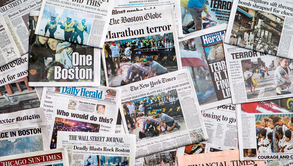 Image of newspaper headlines covering the Boston bombing.